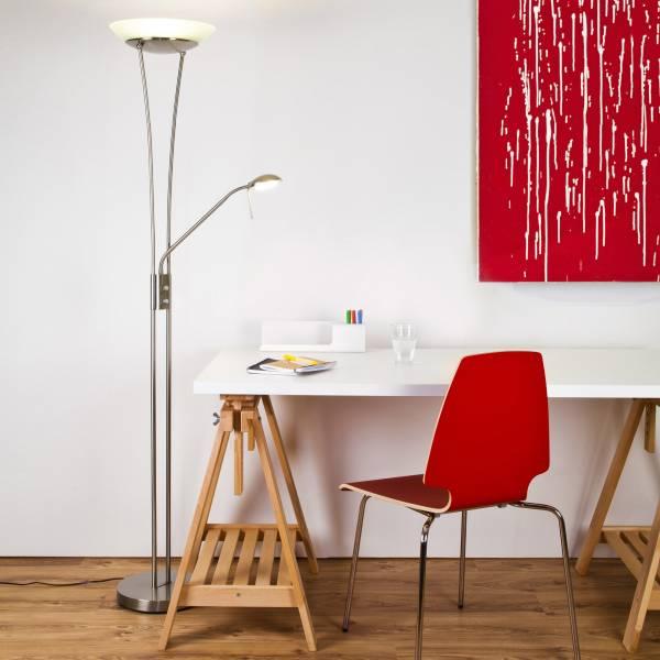 balthasar 18w led deckenfluter m leselampe dimmbar 1600 lumen 3000k warmwei. Black Bedroom Furniture Sets. Home Design Ideas